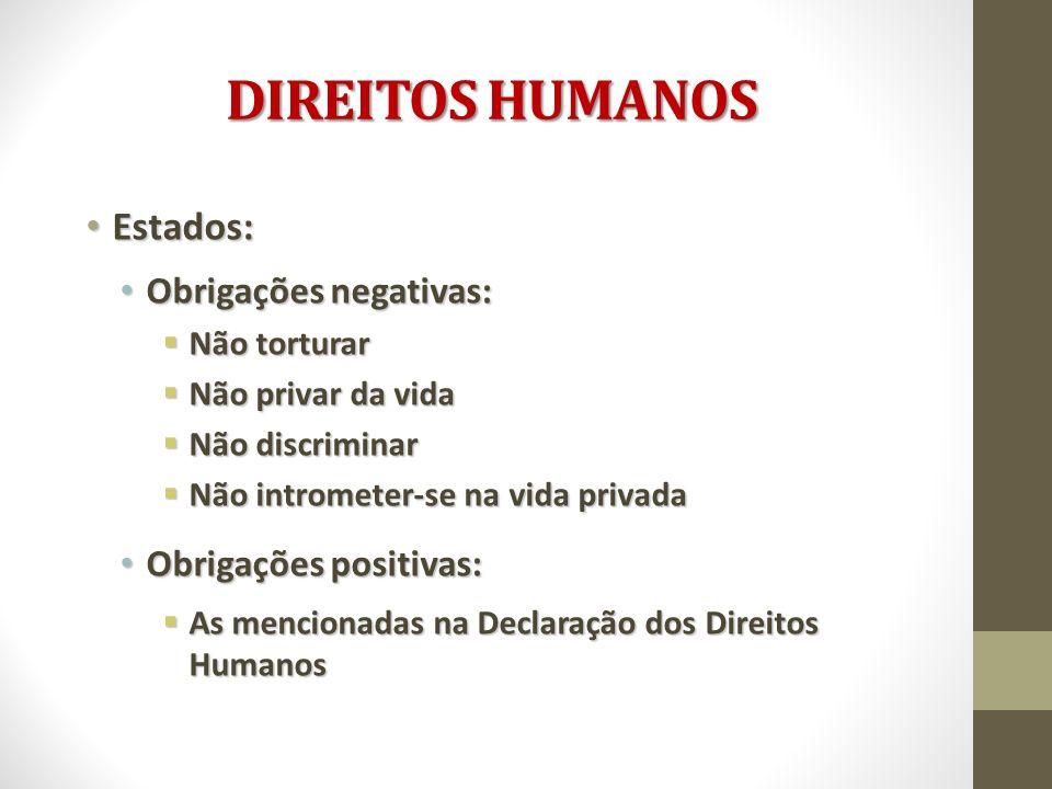 DIREITOS HUMANOS Estados: Obrigações negativas: Obrigações positivas: