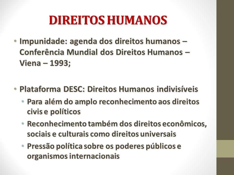DIREITOS HUMANOS Impunidade: agenda dos direitos humanos – Conferência Mundial dos Direitos Humanos – Viena – 1993;