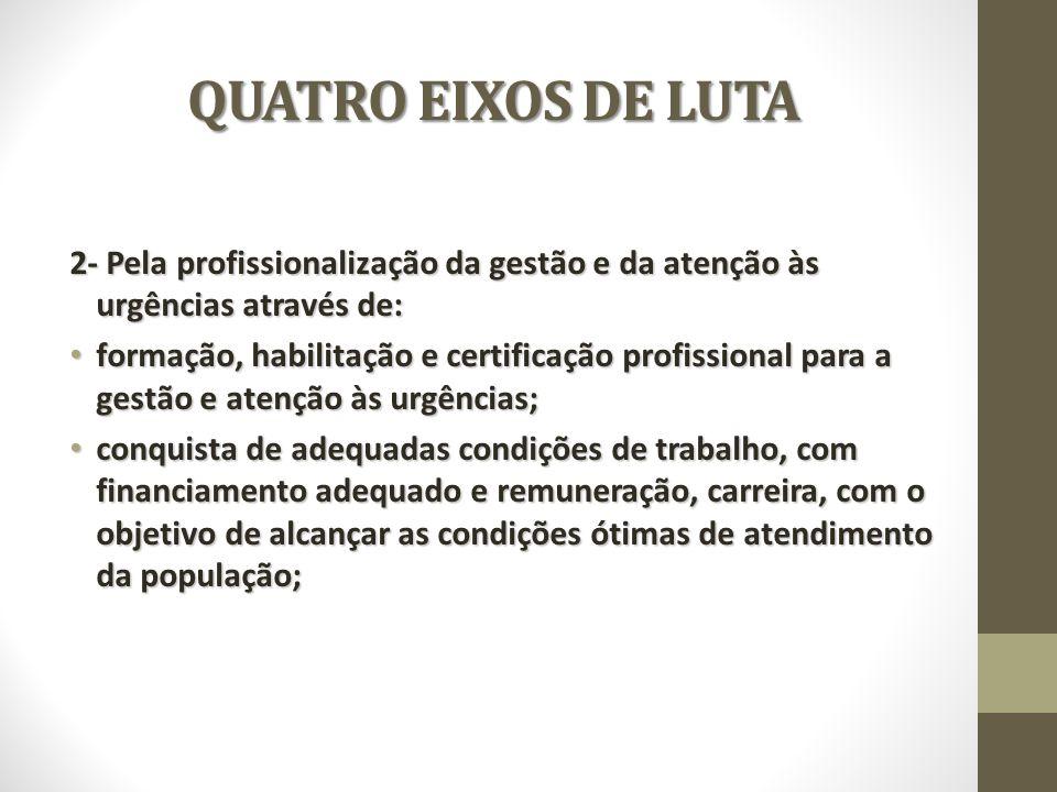 QUATRO EIXOS DE LUTA 2- Pela profissionalização da gestão e da atenção às urgências através de: