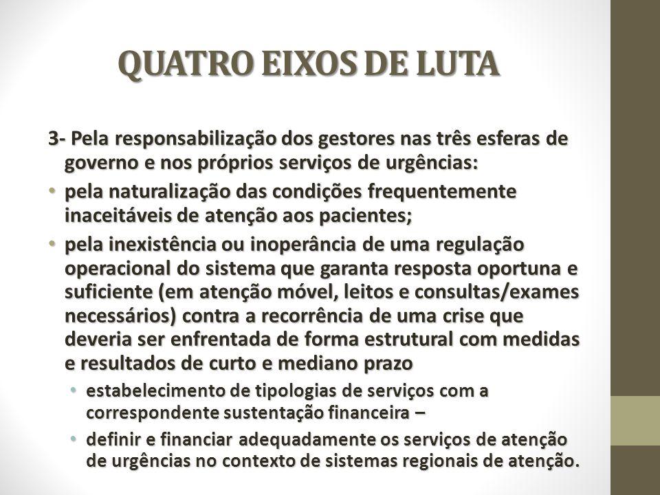 QUATRO EIXOS DE LUTA 3- Pela responsabilização dos gestores nas três esferas de governo e nos próprios serviços de urgências: