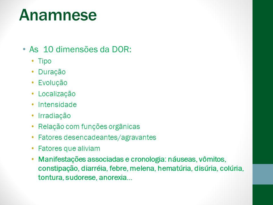 Anamnese As 10 dimensões da DOR: Tipo Duração Evolução Localização