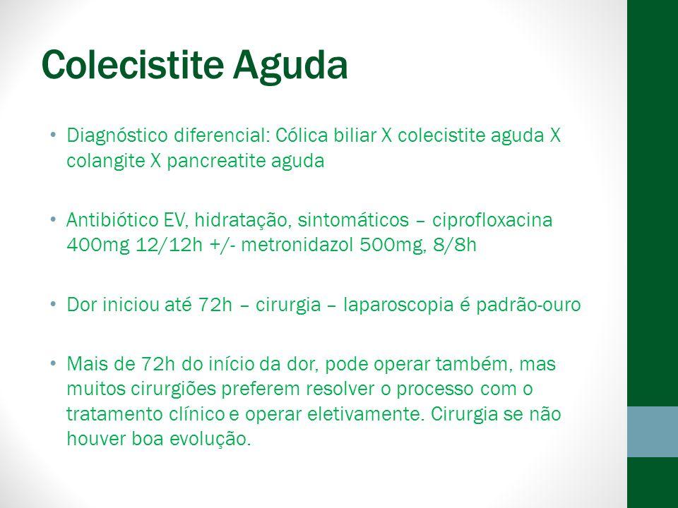 Colecistite Aguda Diagnóstico diferencial: Cólica biliar X colecistite aguda X colangite X pancreatite aguda.