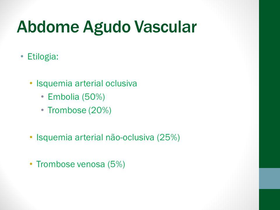 Abdome Agudo Vascular Etilogia: Isquemia arterial oclusiva