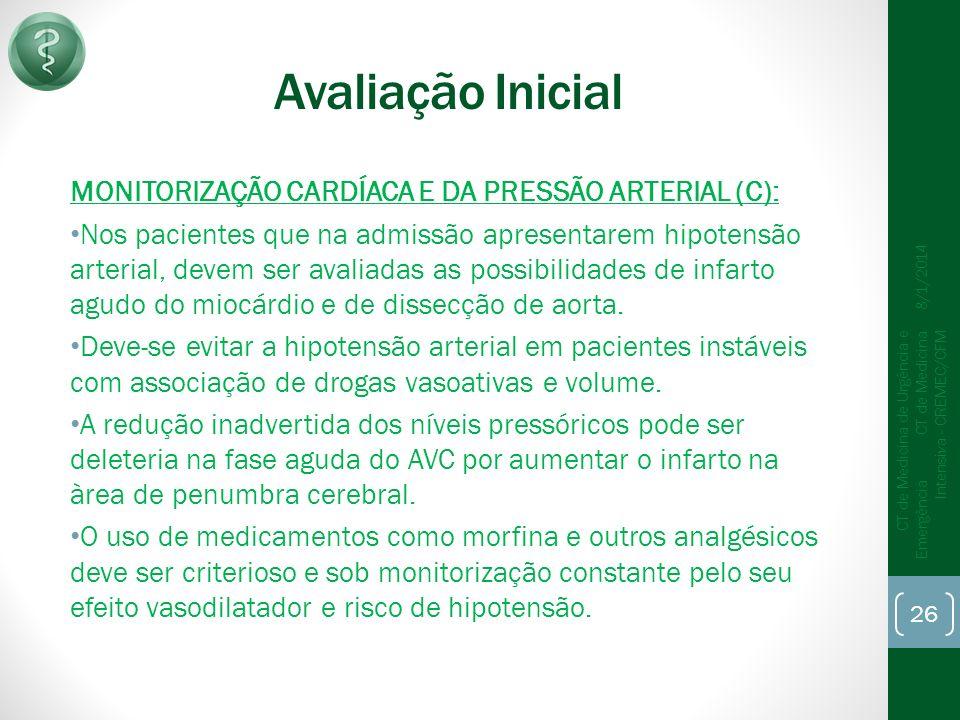 Avaliação Inicial MONITORIZAÇÃO CARDÍACA E DA PRESSÃO ARTERIAL (C):