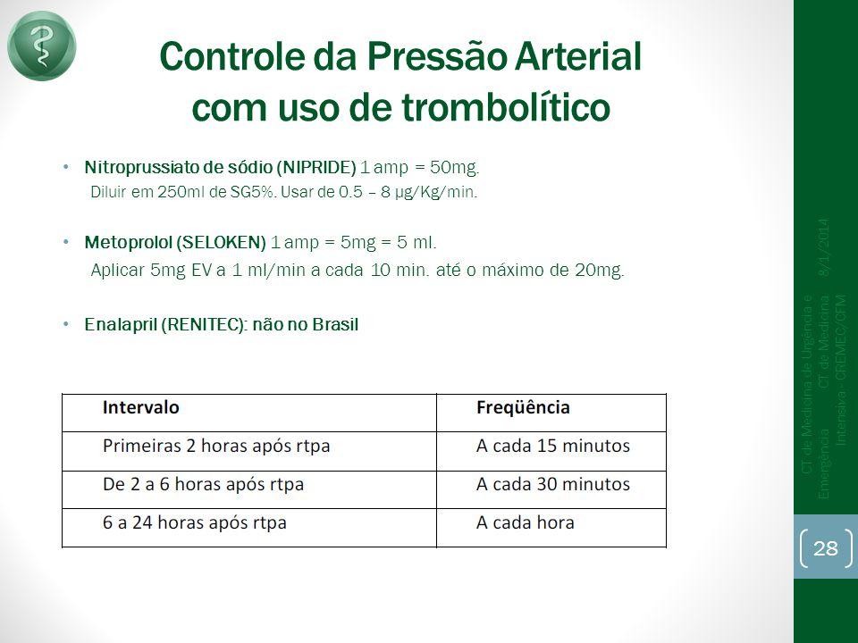 Controle da Pressão Arterial com uso de trombolítico