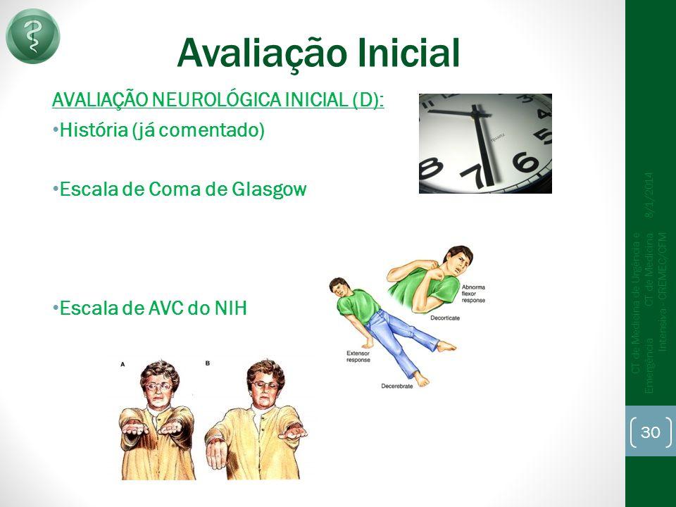 Avaliação Inicial AVALIAÇÃO NEUROLÓGICA INICIAL (D):