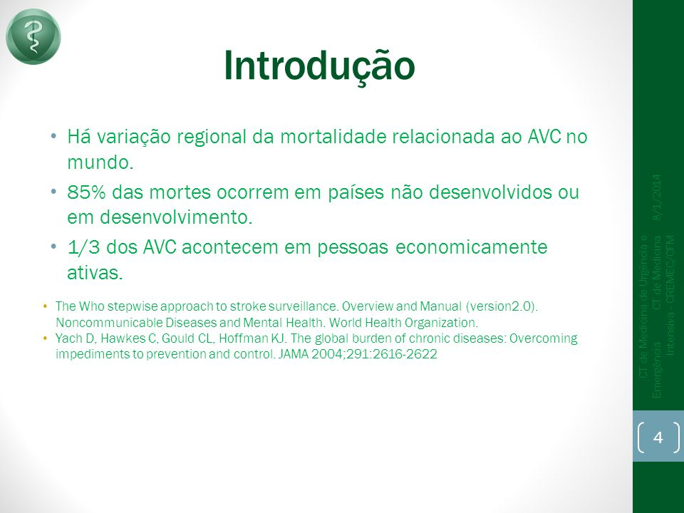 Introdução Há variação regional da mortalidade relacionada ao AVC no mundo.