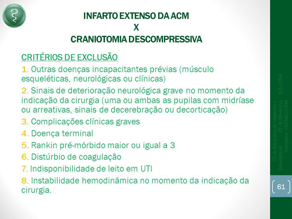 INFARTO EXTENSO DA ACM X CRANIOTOMIA DESCOMPRESSIVA
