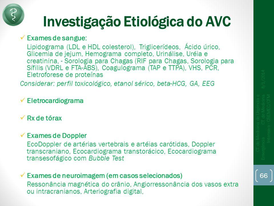 Investigação Etiológica do AVC