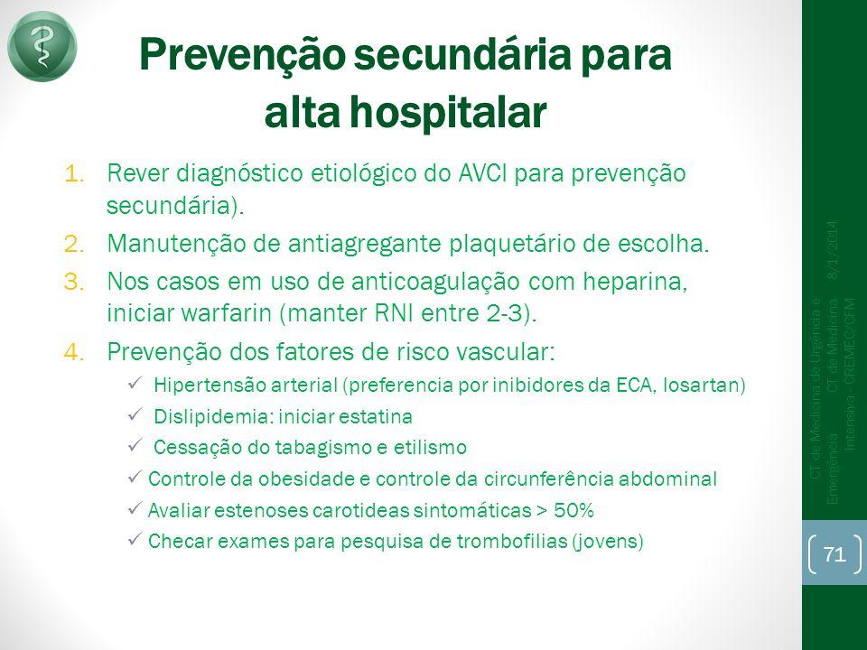 Prevenção secundária para alta hospitalar
