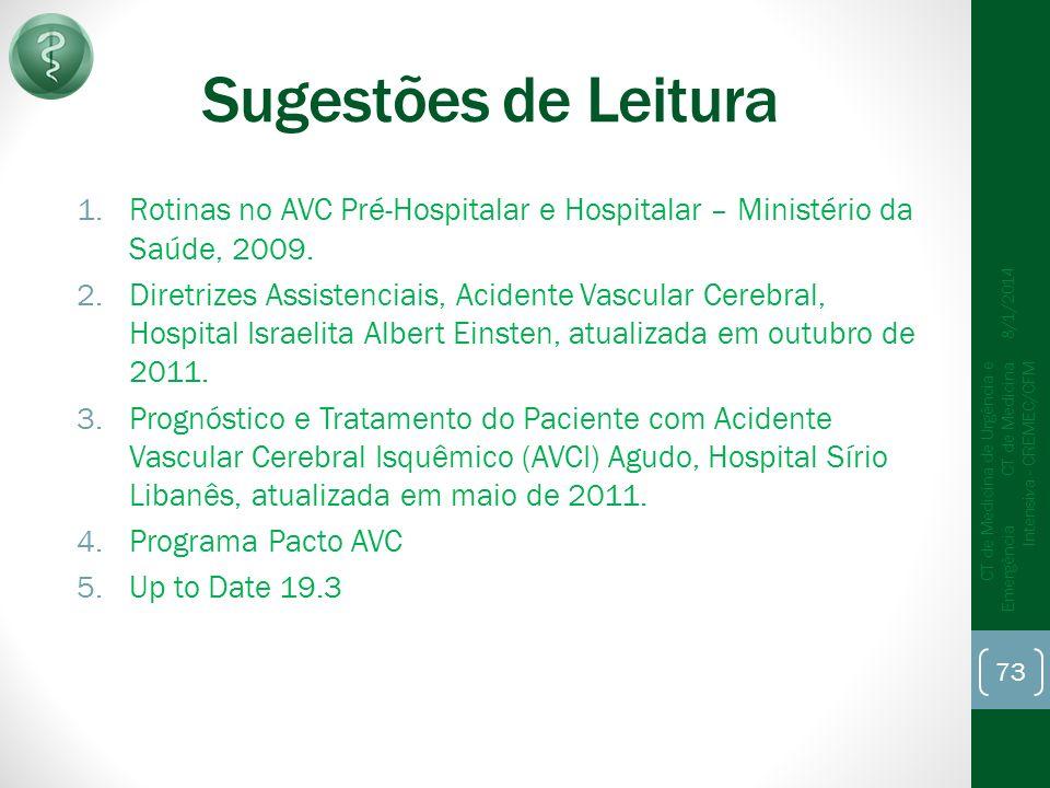 Sugestões de Leitura Rotinas no AVC Pré-Hospitalar e Hospitalar – Ministério da Saúde, 2009.
