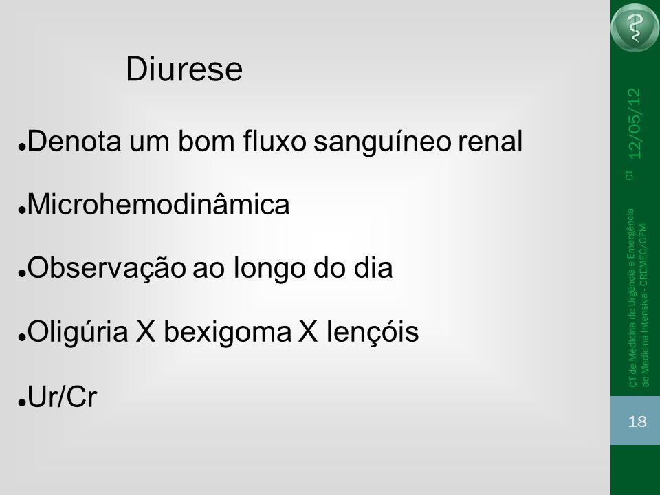 Diurese Denota um bom fluxo sanguíneo renal Microhemodinâmica