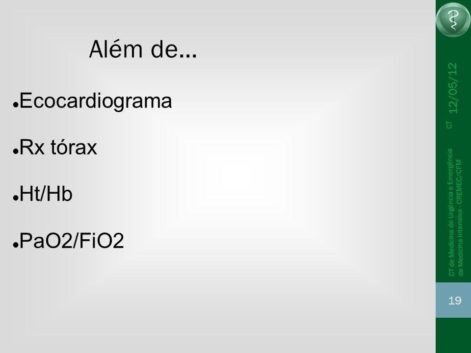 Além de... Ecocardiograma Rx tórax Ht/Hb PaO2/FiO2 12/05/12 19