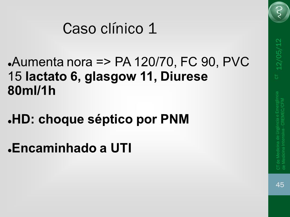 Caso clínico 1 12/05/12. Aumenta nora => PA 120/70, FC 90, PVC 15 lactato 6, glasgow 11, Diurese 80ml/1h.