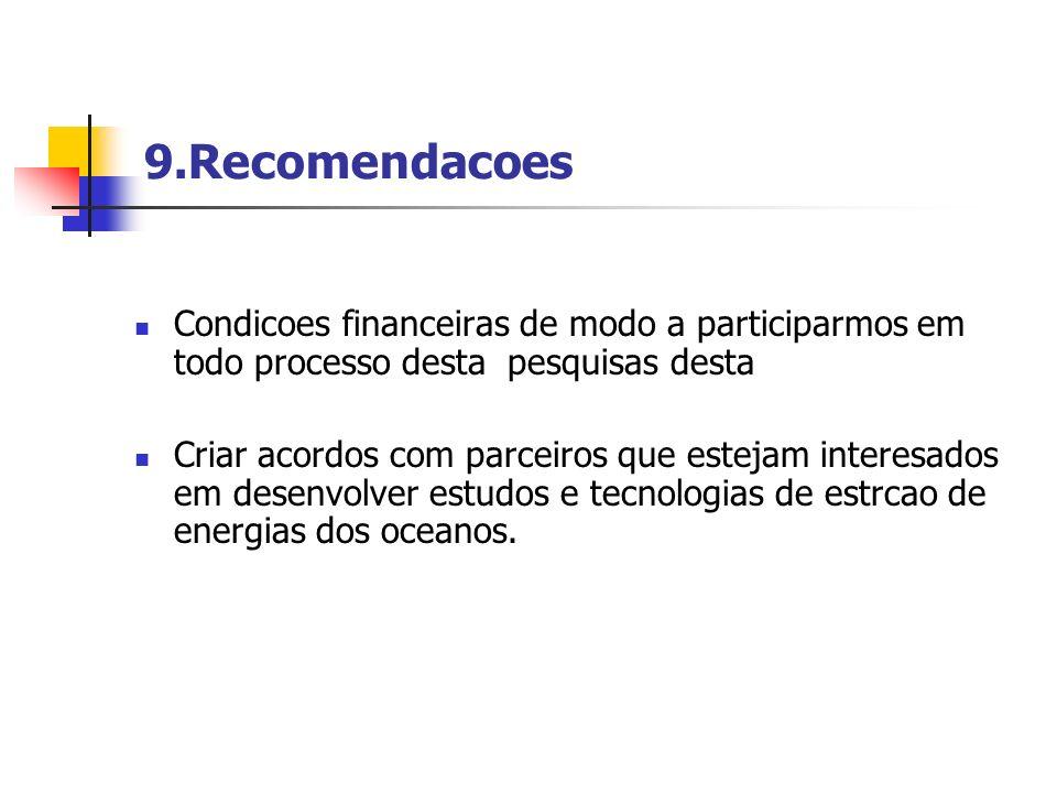 9.Recomendacoes Condicoes financeiras de modo a participarmos em todo processo desta pesquisas desta.