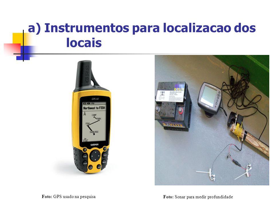 a) Instrumentos para localizacao dos locais