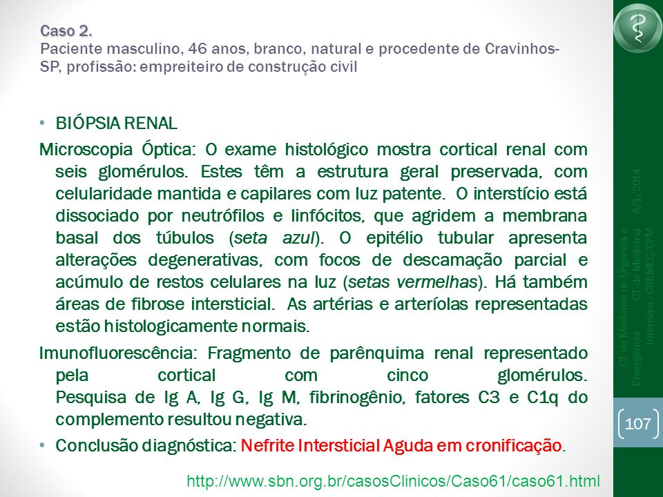 Conclusão diagnóstica: Nefrite Intersticial Aguda em cronificação.