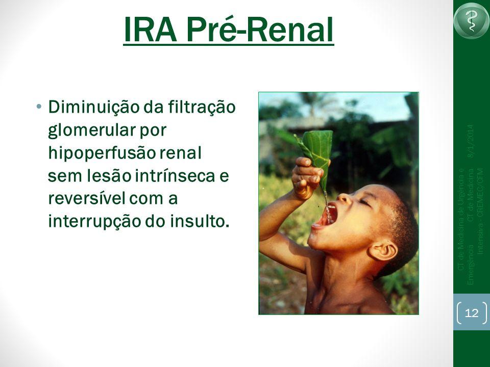 IRA Pré-Renal25/03/2017. Diminuição da filtração glomerular por hipoperfusão renal sem lesão intrínseca e reversível com a interrupção do insulto.