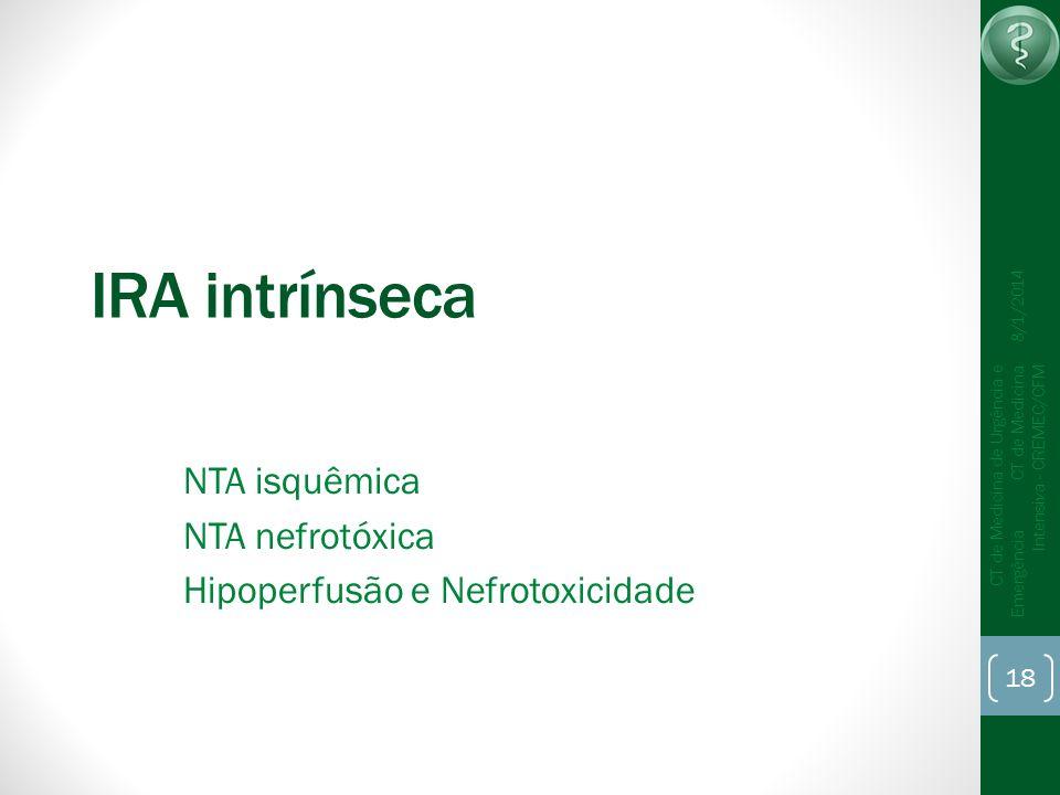 IRA intrínseca NTA isquêmica NTA nefrotóxica