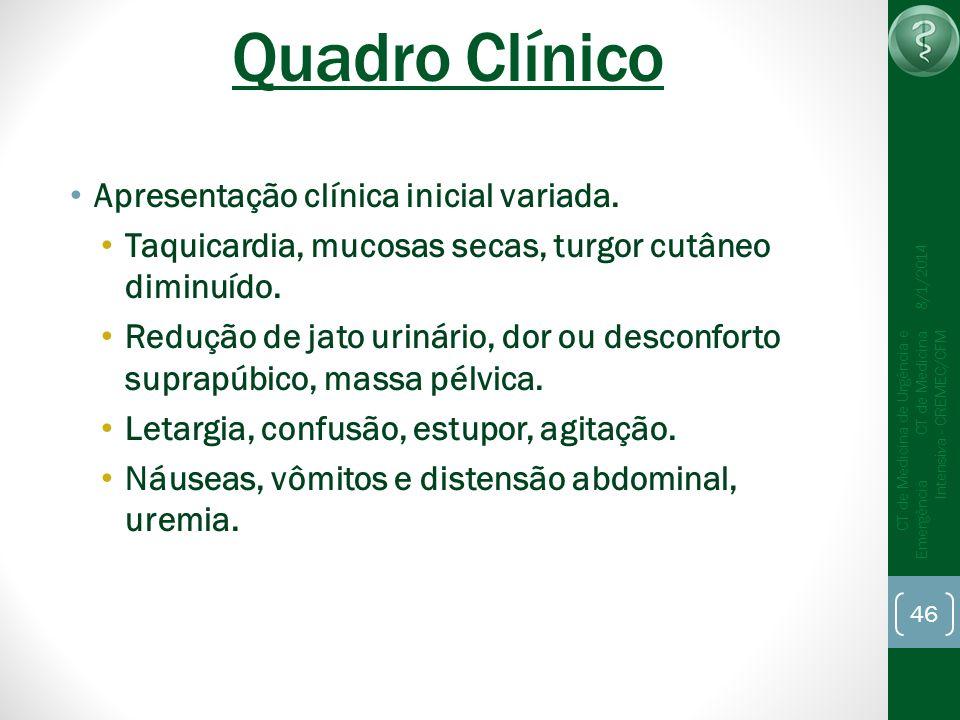 Quadro Clínico Apresentação clínica inicial variada.