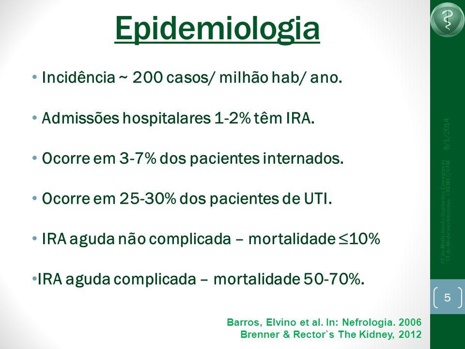 Epidemiologia Incidência ~ 200 casos/ milhão hab/ ano.