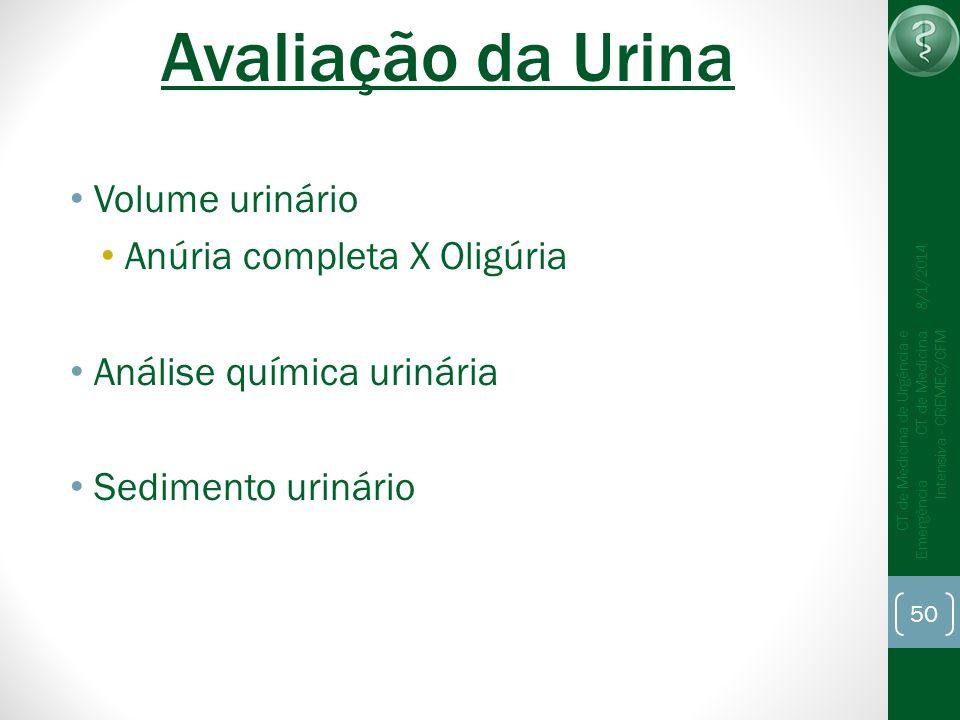 Avaliação da Urina Volume urinário Anúria completa X Oligúria