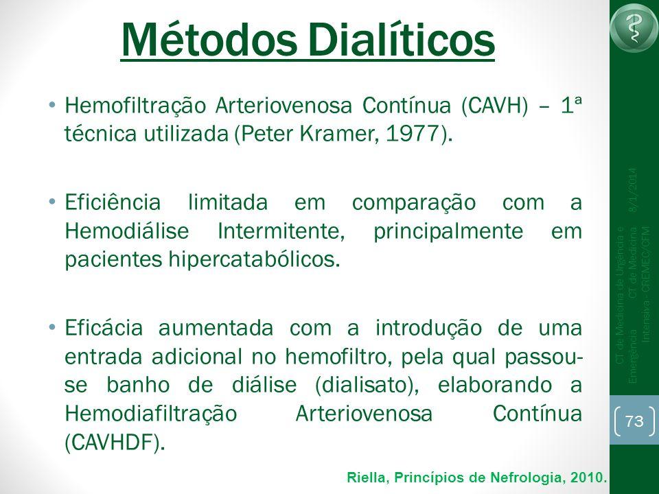 Métodos DialíticosHemofiltração Arteriovenosa Contínua (CAVH) – 1ª técnica utilizada (Peter Kramer, 1977).