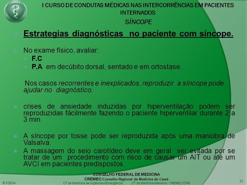Estrategias diagnósticas no paciente com síncope.