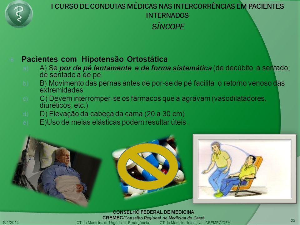 Pacientes com Hipotensão Ortostática