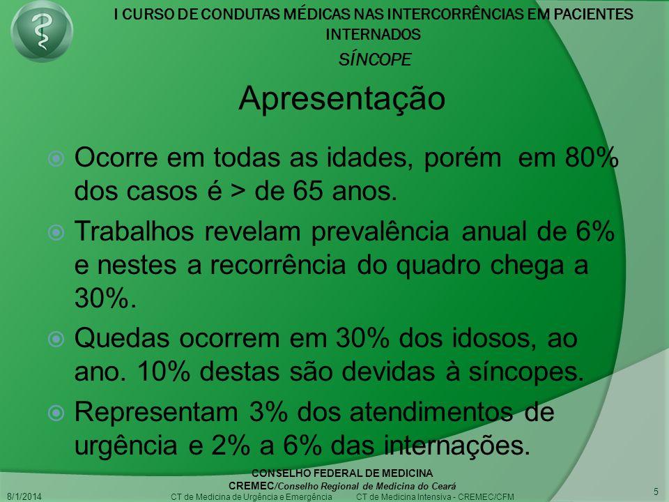I CURSO DE CONDUTAS MÉDICAS NAS INTERCORRÊNCIAS EM PACIENTES INTERNADOS SÍNCOPE