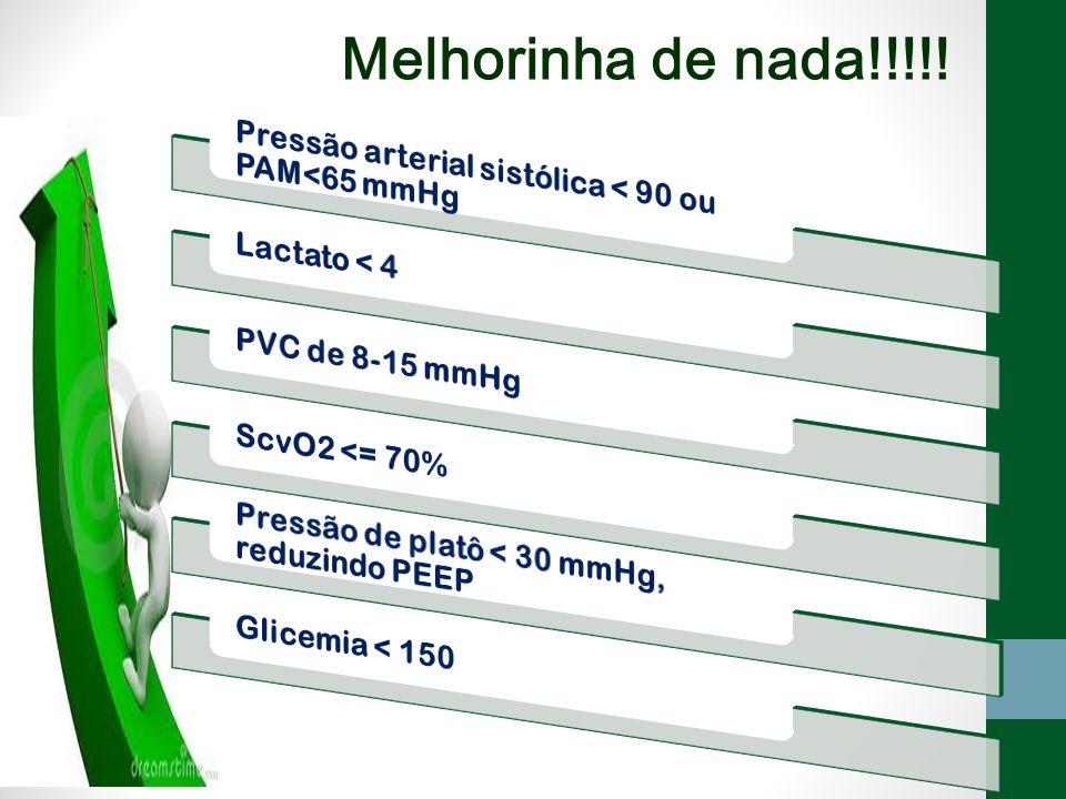 Melhorinha de nada!!!!! Pressão arterial sistólica < 90 ou PAM<65 mmHg. Lactato < 4. PVC de 8-15 mmHg.