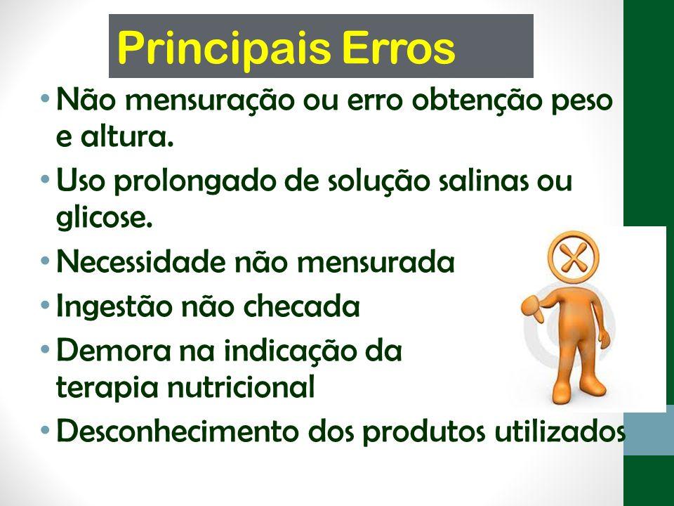 Principais Erros Não mensuração ou erro obtenção peso e altura.