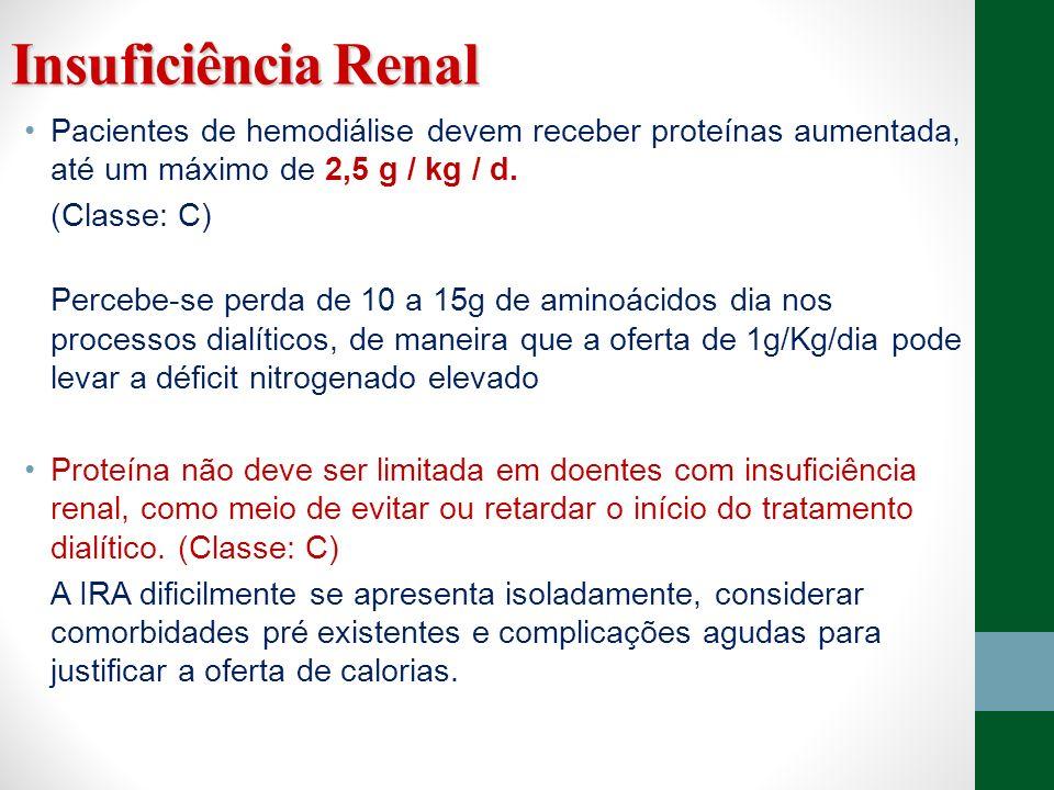 Insuficiência RenalPacientes de hemodiálise devem receber proteínas aumentada, até um máximo de 2,5 g / kg / d.