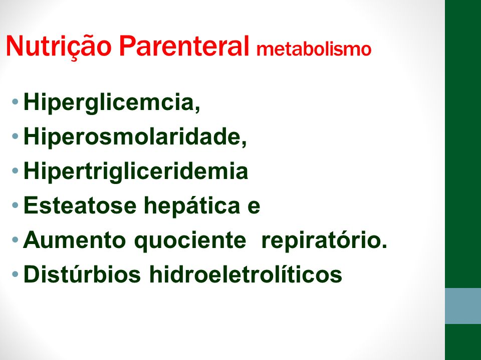 Nutrição Parenteral metabolismo