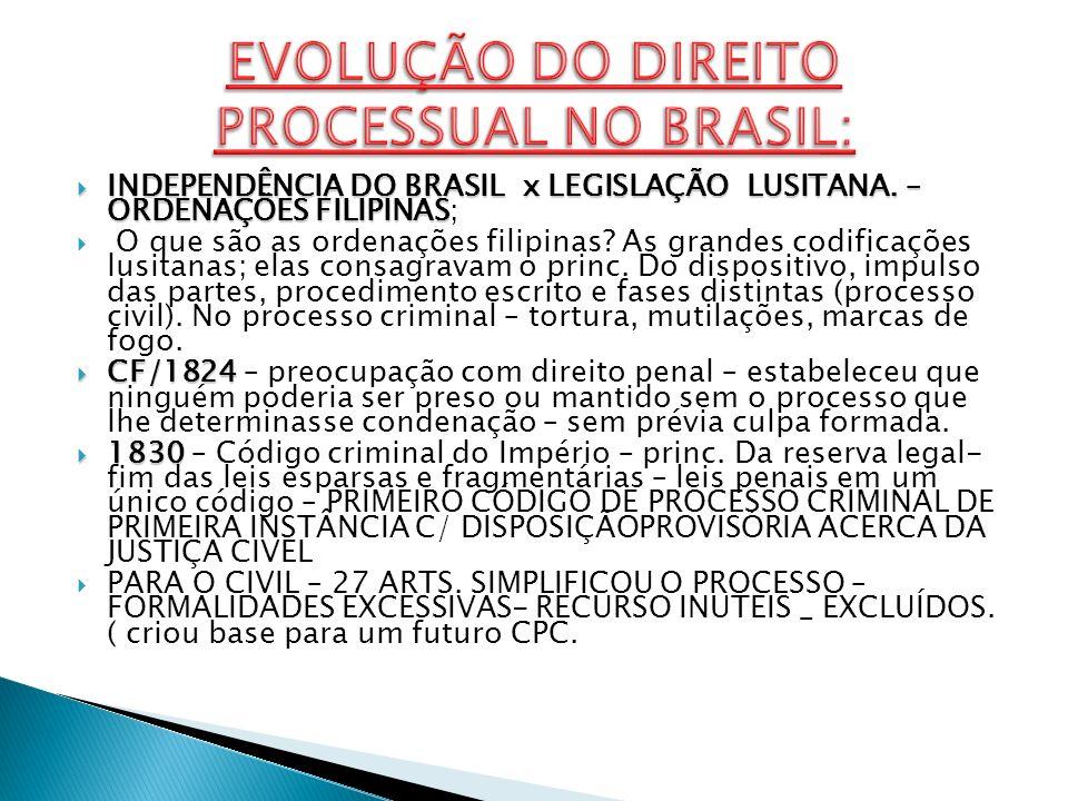 EVOLUÇÃO DO DIREITO PROCESSUAL NO BRASIL: