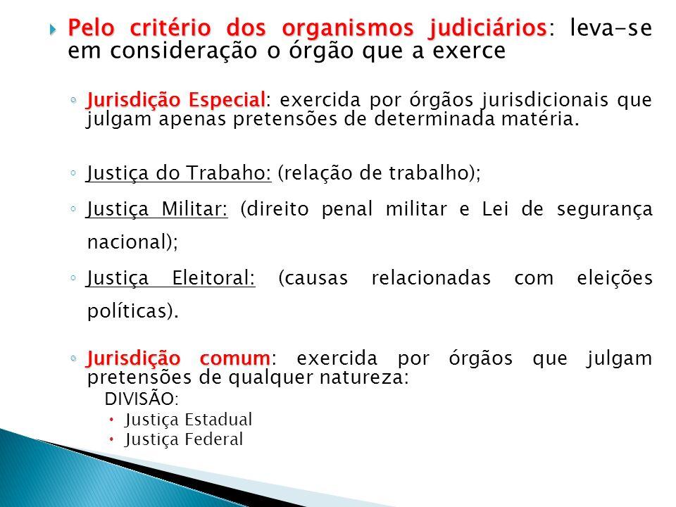 Pelo critério dos organismos judiciários: leva-se em consideração o órgão que a exerce