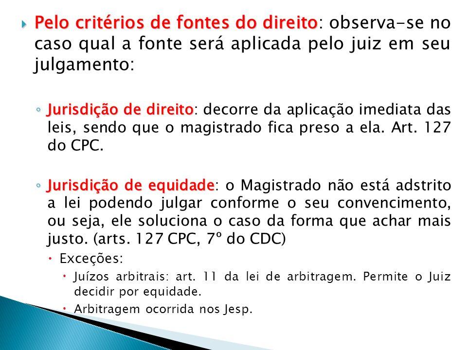 Pelo critérios de fontes do direito: observa-se no caso qual a fonte será aplicada pelo juiz em seu julgamento: