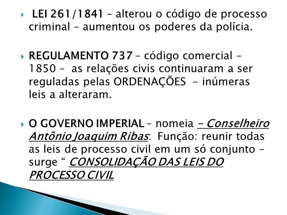 LEI 261/1841 – alterou o código de processo criminal – aumentou os poderes da polícia.