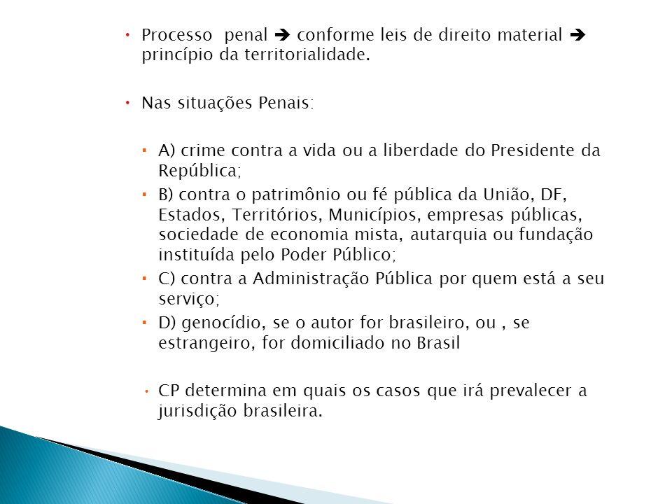 Processo penal  conforme leis de direito material  princípio da territorialidade.