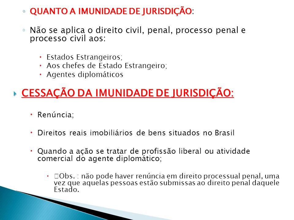 CESSAÇÃO DA IMUNIDADE DE JURISDIÇÃO:
