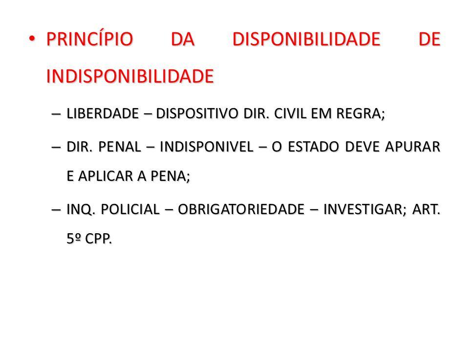 PRINCÍPIO DA DISPONIBILIDADE DE INDISPONIBILIDADE