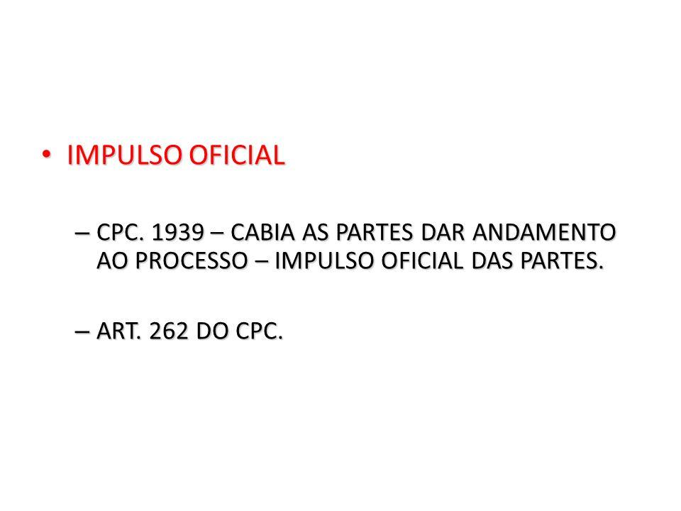 IMPULSO OFICIAL CPC. 1939 – CABIA AS PARTES DAR ANDAMENTO AO PROCESSO – IMPULSO OFICIAL DAS PARTES.