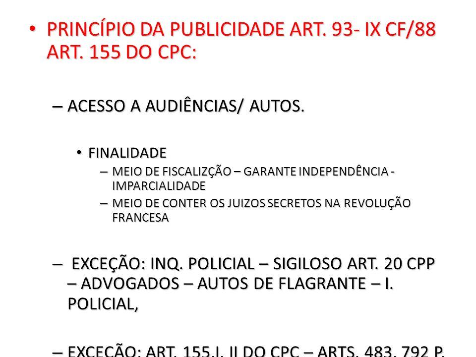 PRINCÍPIO DA PUBLICIDADE ART. 93- IX CF/88 ART. 155 DO CPC: