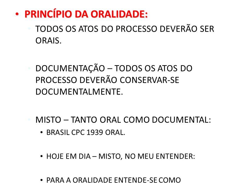 PRINCÍPIO DA ORALIDADE: