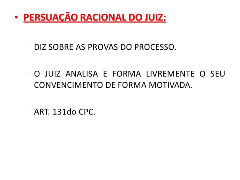 PERSUAÇÃO RACIONAL DO JUIZ: