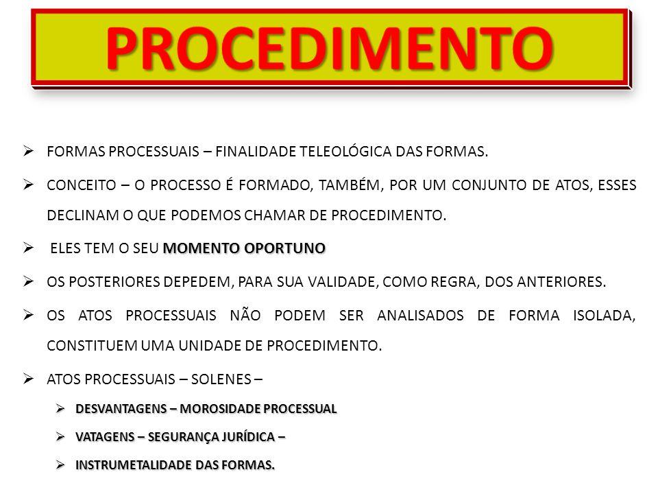 PROCEDIMENTO FORMAS PROCESSUAIS – FINALIDADE TELEOLÓGICA DAS FORMAS.