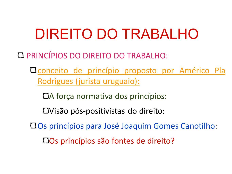 DIREITO DO TRABALHO PRINCÍPIOS DO DIREITO DO TRABALHO: