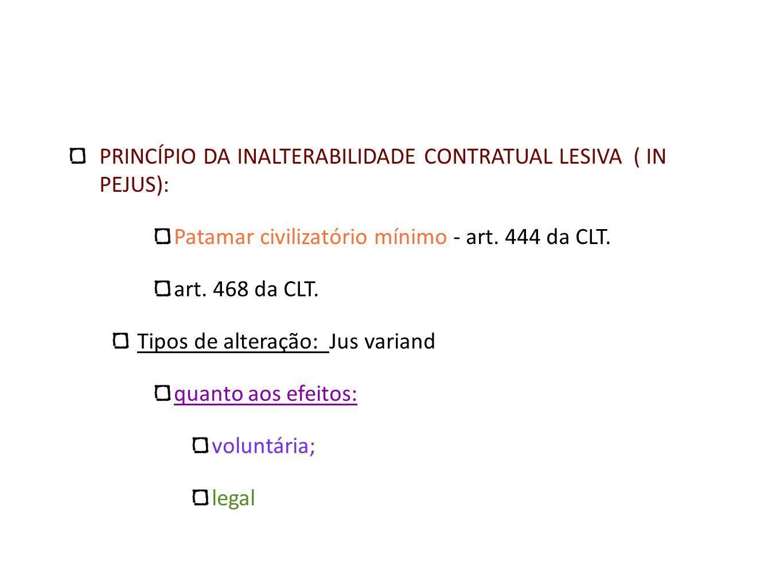 PRINCÍPIO DA INALTERABILIDADE CONTRATUAL LESIVA ( IN PEJUS):
