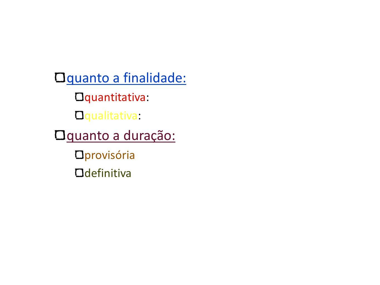 quanto a finalidade: quanto a duração: quantitativa: qualitativa: