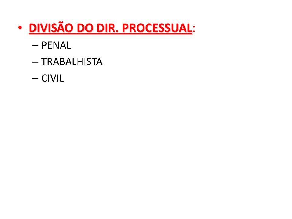 DIVISÃO DO DIR. PROCESSUAL: